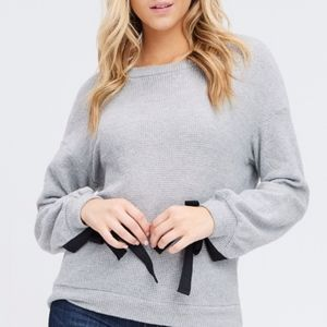 Grey Tie Sleeve Top Sizes S, M and L